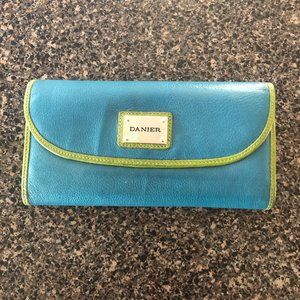 Danier Green and Blue Leather Wallet